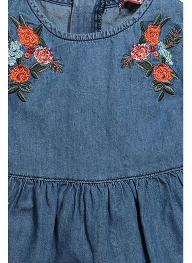 Zeyland Çiçek Nakışlı Uzun Kollu Kot Elbise (9ay-4yaş) Çiçek Nakışlı Uzun Kollu Kot Elbise (9ay-4yaş) Mavi